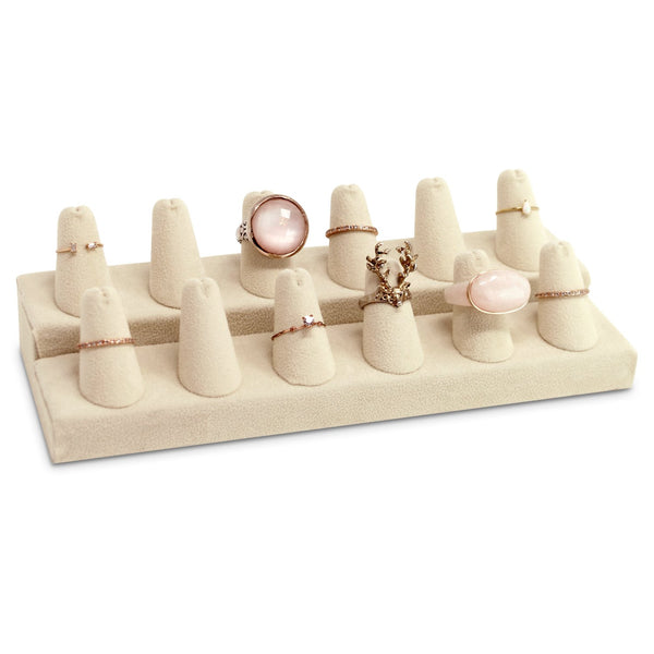 #245-12Q (BE) 12 Beige Faux Suede Finger Ring Display