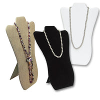 3 Padded Fabric Covered Wood Necklace Display Easels-Nile Corp