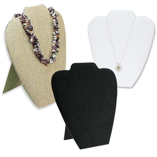 3 Padded Fabric Covered Wooden Necklace Display Easels-Nile Corp