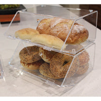 Acrylic Stackable Bakery Display Case Home Organizer Acrylic Storage Holder Stand for Bagels with A Hinged, Slanted Door | Nile Corp