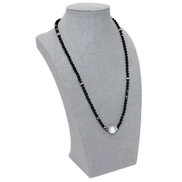 #BU365 Gray Linen Necklace Display Bust