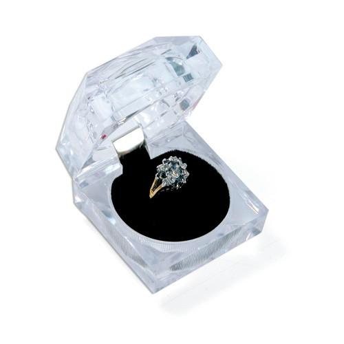Square Deluxe Crystal-Cut Ring Box-Nile Corp