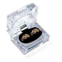 Rectangular Deluxe Crystal-Cut Double Ring Box-Nile Corp