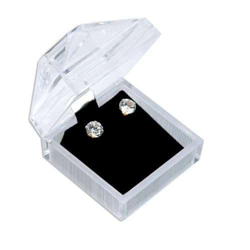 Square Crystal-Cut Earring Box-Nile Corp