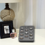 #BX2470R-SG Steel Gray Faux Leather Ring Display