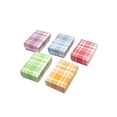 #BX2810-PL Assorted Colors Plaid Cotton Filled Jewelry Paper Boxes | Nile Corp