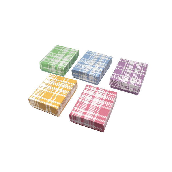 #BX2811-PL Assorted Colors Plaid Cotton Filled Jewelry Paper Boxes | Nile Corp