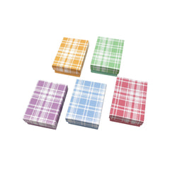 #BX2821-PL Assorted Colors Plaid Cotton Filled Jewelry Paper Boxes | Nile Corp