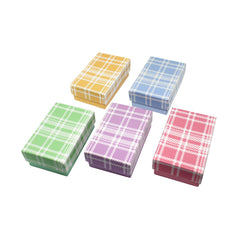 #BX2832-PL Assorted Colors Plaid Cotton Filled Jewelry Paper Boxes | Nile Corp