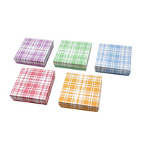 Assorted Colors Plaid Cotton Filled Jewelry Paper Boxes 3 1/2''W x 3 1/2''D x 1''H | Nile Corp