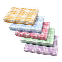 #BX2875-PL Assorted Colors Plaid Cotton Filled Jewelry Paper Boxes | Nile Corp