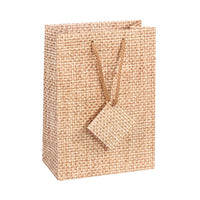 #BX4753-N3 Jewelry Shopping Tote Bag. Burlap Printee