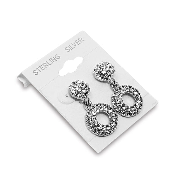 "#BX561-1S ""Sterling Silver"" White Hanging Earring Cards"