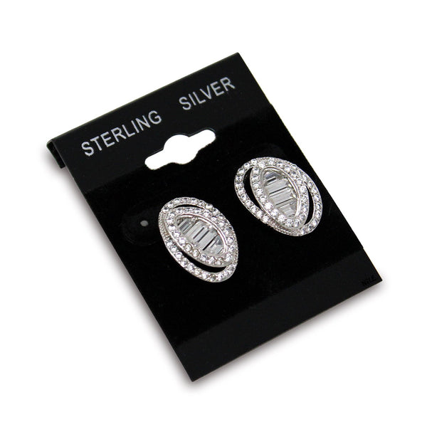 "#BX561S ""Sterling Silver"" Black Hanging Earring Cards"