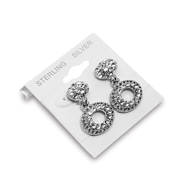 "#BX579S ""Sterling Silver"" White Hanging Earring Cards"