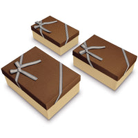 Nesting Gift Boxes, A Set of 3, Brown with A Bowtie | Nile Corp
