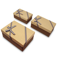 Nesting Gift Boxes, A Set of 3, Light Brown with A Bowtie | Nile Corp