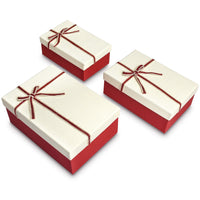 Nesting Gift Boxes, A Set of 3, White Color  with A Bowtie | Nile Corp
