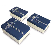 Nesting Gift Boxes, A Set of 3, Blue Color with A Bowtie | Nile Corp