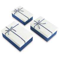 #BX8302-3WH Nesting Gift Boxes, Off-White Color with A Bowtie | Nile Corp