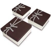 Nesting Gift Boxes, A Set of 3,Brown Color with A Bowtie | Nile Corp