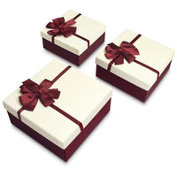 #BX8302-5WH Nesting Gift Boxes, A Set of 3, White Color with A Ribbon Bowtie | Nile Corp