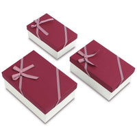 #BX8302-6RD Nesting Gift Boxes, A Set of 3, Burgundy Color with A Bowtie