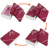 #BX8302-6RD Nesting Gift Boxes, A Set of 3, Burgundy Color with A Bowtie | Nile Corp