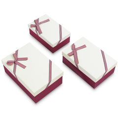 #BX8302-6WH Nesting Gift Boxes, A Set of 3, Off-White Color with A Bowtie | Nile Corp