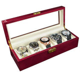 Glass Top Rosewood Watch Case with Lock | Nile Corp