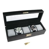 Glass Top Wooden Watch Case with Lock for 5 Watches-Nile Corp