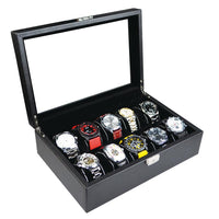 Glass Top Wooden Watch Case with Lock for 10 Watches-Nile Corp