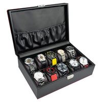 Wooden Watch Box with Lock for 10 Watches-Nile Corp
