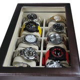 Wooden Dark Brown Watch Case with Lock for 20 Watches | Nile Corp