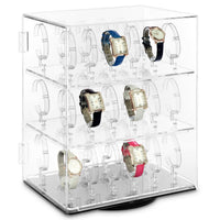 #CBW240 Revolving Acrylic Watch Display Case with Lock for 36 Watches