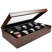 Clear Top Wooden Watch Case for 10 Watches-Nile Corp