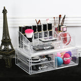 Large Acrylic Makeup Organizer Jewelry Storage Case Two Pieces Set with Gray Nylon Mesh Pad (3 Small Drawers, 1 Square Drawer) | Nile Corp