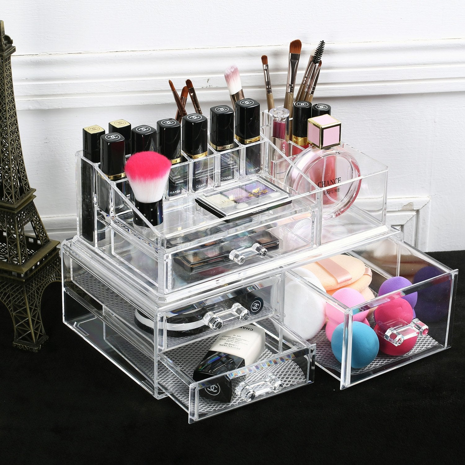 Large acrylic makeup organizer jewelry storage case two pieces set with gray nylon mesh pad