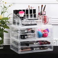 Large Acrylic Makeup Organizer Jewelry Storage Case Three Pieces Set with Gray Nylon Mesh Pad (3 Small Drawers, 2 Flat Drawers, 1 Square Drawer)