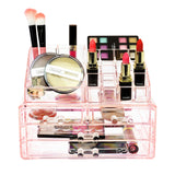 Two Piece Acrylic Makeup and Jewelry Storage Organizer Set | Nile Corp