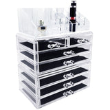 Three Piece Acrylic Makeup and Jewelry Storage Organizer Set