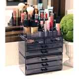 #COMS29150-BK Makeup Organizer Jewelry Storage Case 3 Pieces Set, Gray