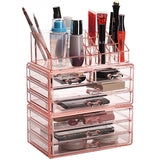 #COMS29150-PK Acrylic Jewelry & Cosmetic/Makeup Storage Display Boxes Set.