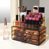 Jewelry and Makeup Organizer Two Pieces Set, Light Brown | Nile Corp