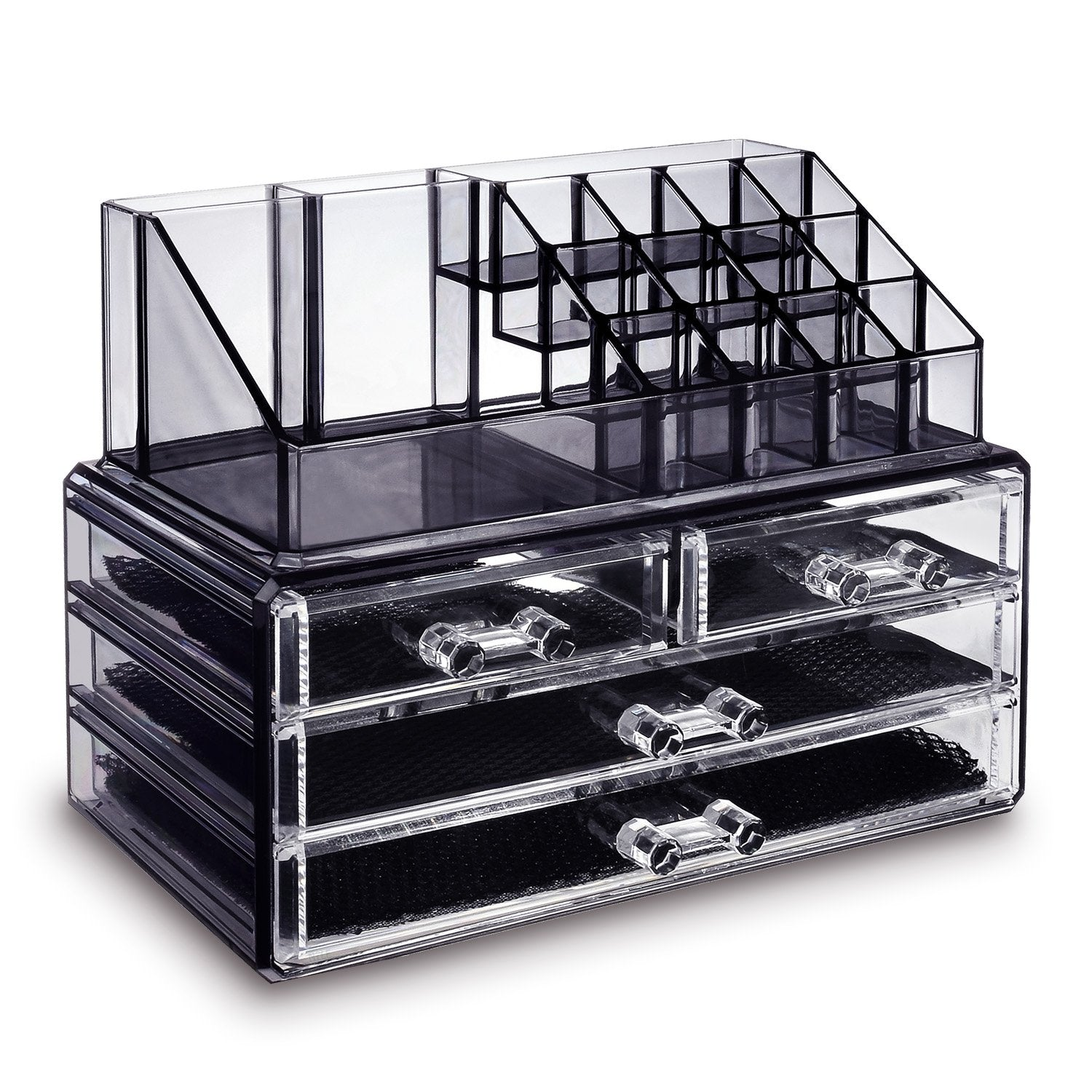 Coms4396bk Jewelry And Makeup Organizer Two Pieces Set Black