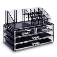 Jewelry and Makeup Organizer Two Pieces Set, Black | Nile Corp