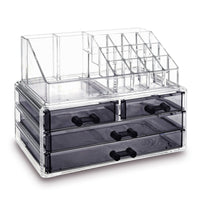 Jewelry and Makeup Organizer Two Pieces Set, Clear | Nile Corp