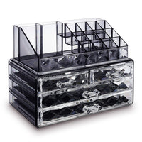 #COMS4496BK Jewelry and Makeup Organizer Two Pieces Set, Black Diamond Pattern | Nile Corp