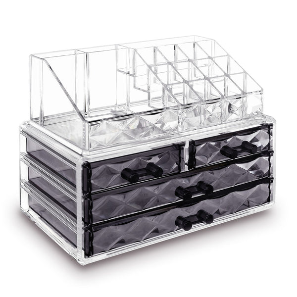 Jewelry and Makeup Organizer Two Pieces Set, Clear Diamond Pattern | Nile Corp