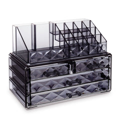 #COMS8625-G Jewelry & Makeup Organizer, Translucent Gray Diamond Pattern